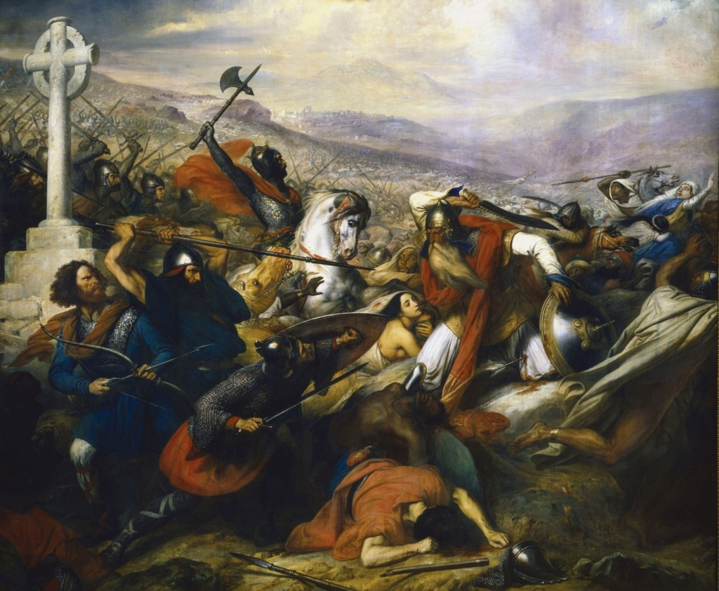 La Bataille de Poitiers, huile sur toile, Charles de Steuben (1837). Une vision classique de l'affrontement, insistant sur l'aspect religieux et grandement influencée par la conquête contemporaine de l'Algérie par les troupes de Louis-Philippe et par l'orientalisme.